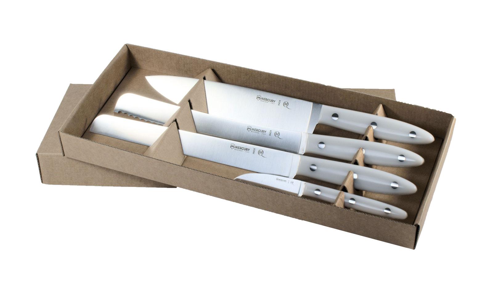 Delfino full tang line white delfino kitchen set 4 for Full kitchen set